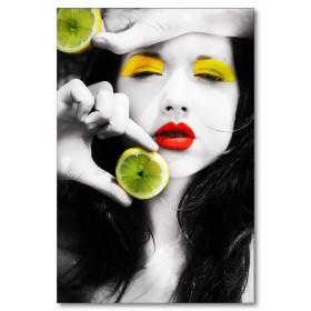 Αφίσα (λεμόνι, κορίτσι, μαύρο, λευκό, άσπρο)